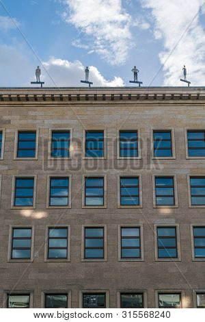 Berlin, Germany - July 28, 2018: Upwards Perspective Of The Former Reichsbank Building, An Example O
