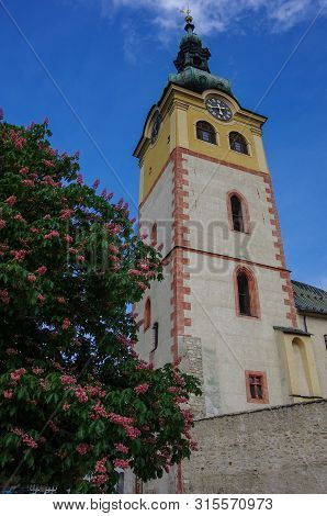 Bell Tower Of Old Castle In The Historical Center In Banska Bystrica, Slovakia