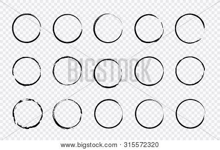 Set Of Hand Drawn Circle. Drawning Circle. Scribble Doodle. Brush Circle. Vector Illustration.