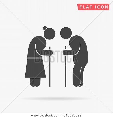 Retired Elderly Senior Age Couple. Older Pension Senior People. Grandparents Characters. Flat Design