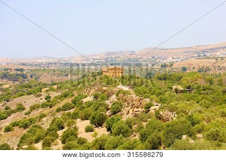 Temple Of Concordia And Vegetation In Valley Of The Temples, Agrigento, Sicily