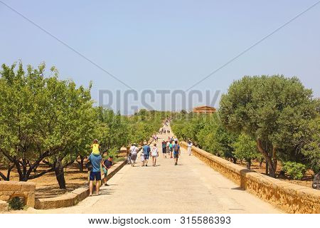 Agrigento, Italy - June 21, 2019: Long Street Between Temples In Valley Of The Temples In Agrigento,