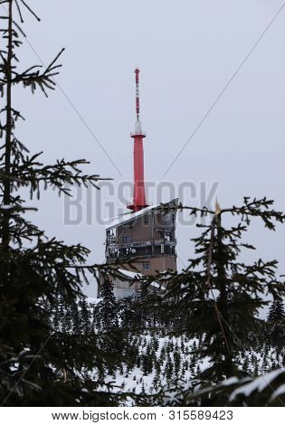 The Highest Place In Beskydy Mountains, Czech Republic Center Of Europe. Lysa Hora Is A Symbol Of Mo