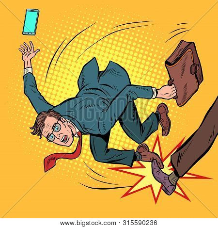 Businessman Falls. Business Competition And Unfair Practices. Pop Art Retro Vector Stock Illustratio