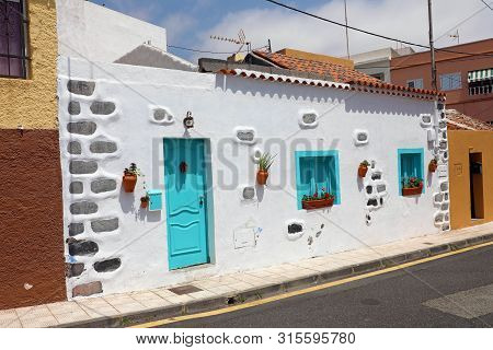 Candelaria Cozy Street In Summer, Tenerife, Canary Islands
