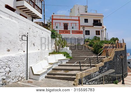 Candelaria Cozy Village In Tenerife, Stairway And Houses In Summer, Canary Islands