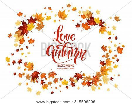 Autumn Leaves Frame. Nature Design Elements Set. Fall Maple Leaves For Decoration.