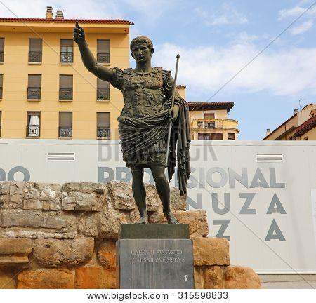 Zaragoza, Spain - July 1, 2019: Monument To The Emperor Caesar Augustus, Founder Of Zaragoza, Spain