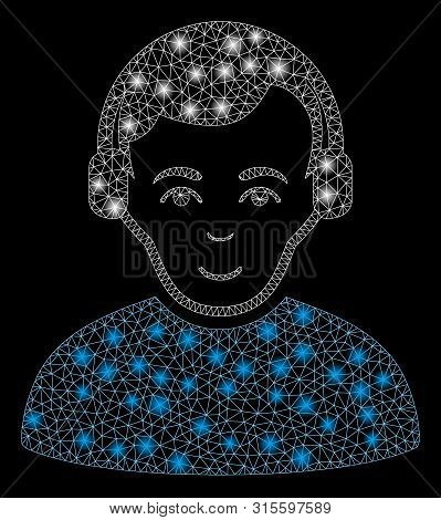 Glossy Mesh Radioman With Sparkle Effect. Abstract Illuminated Model Of Radioman Icon. Shiny Wire Ca