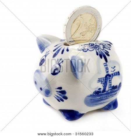 Piggy Bank With Euro Coin