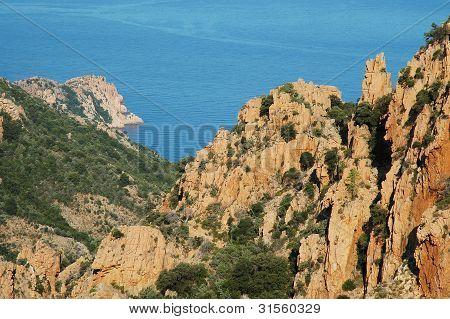 E Calanque di Piana, granite rocks, UNESCO heritage, Corsica, France poster