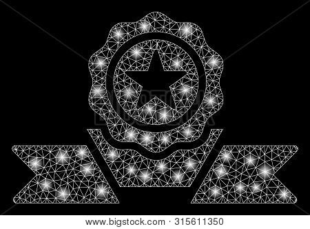 Glossy Mesh Recommendation Badge With Lightspot Effect. Abstract Illuminated Model Of Recommendation