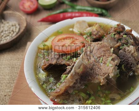 Food Photography, Sop Buntut Or Sop Tulang Sapi, Indonesian Traditional Oxtail Or Ribs Soup