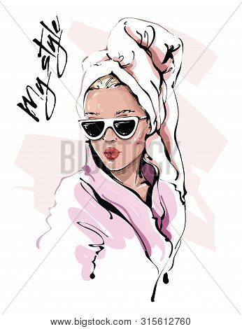 Hand Drawn Beautiful Young Woman In Sunglasses. Stylish Girl With Bath Towel On Her Head. Fashion Wo