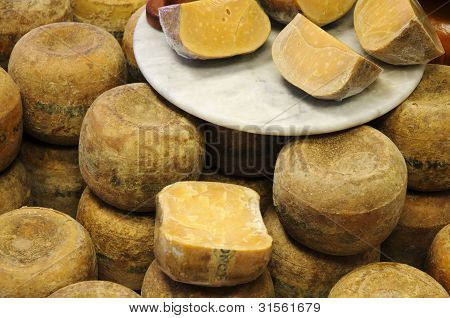 Old Gouda Cheese in Counter