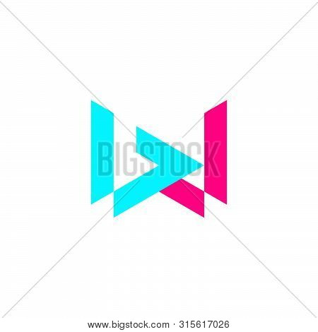 Letter Bw Simple Geometric Line Logo Vector