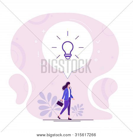 Vector Flat Illustration With Business Lady Walking Forwards Her Aim Inspired New Idea Isolated On R