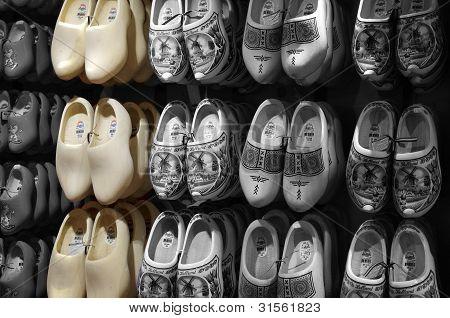 Wooden shoes Dutch souvenirs B&W