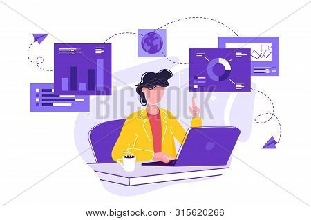 Vector Illustration Of Business, Office Workers Are Studying The Infographic, The Analysis Of The Ev