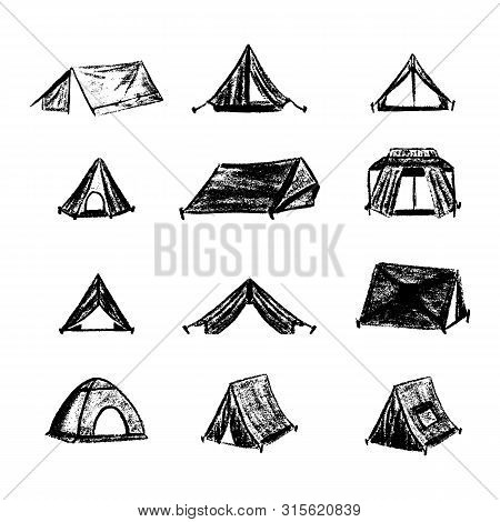 Hiking And Camping Tent Vector Icons. Triangle And Dome Vintage Design Tents Collections.