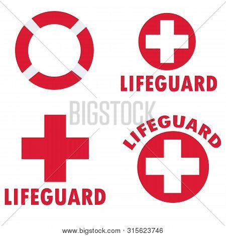 Set Of Lifeguard Icons On White Background. Flat Style. Set Of Beach Labels And Badges Icon For Your