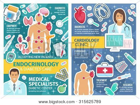 Cardiology Clinic And Endocrinology Hospital Doctors Vector Design With Cardiologist, Endocrinologis