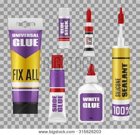 Glue Package 3d Mockups Of Adhesive Stick, Tubes And Bottles. Vector Super Glue And Silicone Sealant