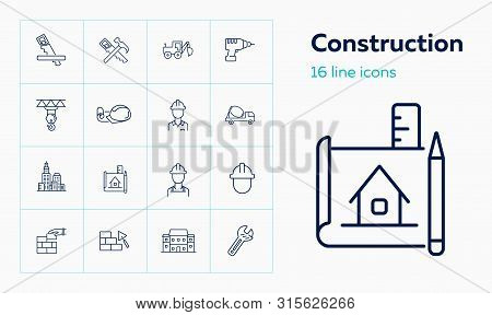 Construction Site Line Icon Set. Architect, Blueprint, Concrete Mixer, Brickwork. Construction Conce