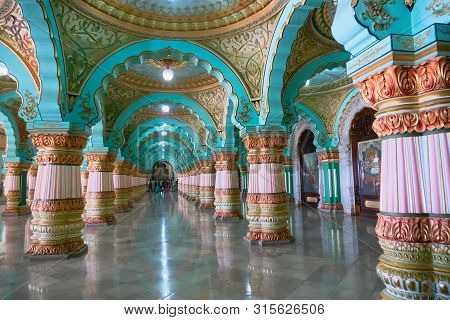 Mysore, Karnataka, India - November 25th 2018 : Beautiful Decorated Interior Ceiling And Pillars Of