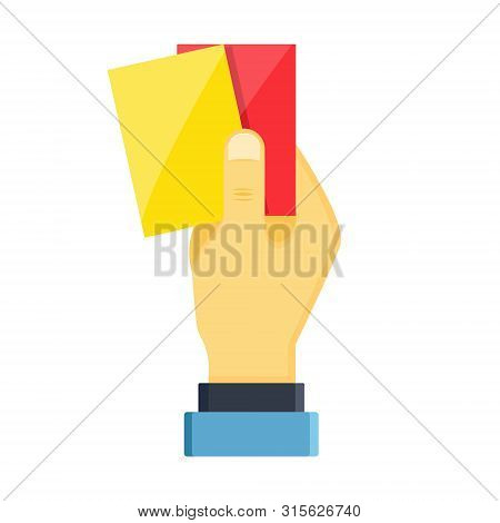 Realistic Hands Holds Out Shiny Plastic Yellow Red Football Sport Soccer Referee Cards For Fouls, Pl
