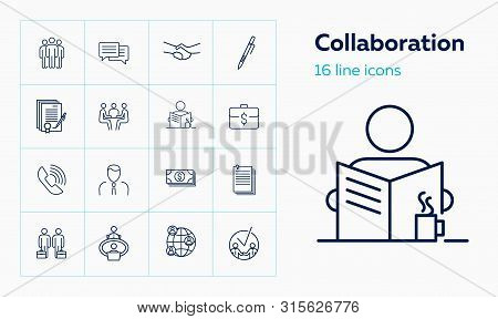 Collaboration Line Icon Set. Partners, Meeting, Handshake, Contract. Business Concept. Can Be Used F