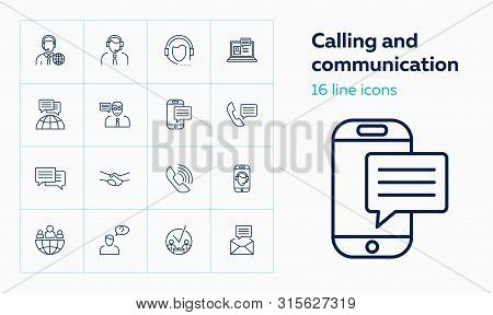 Calling And Communication Icons. Set Of Line Icons On White Background. Mobile Phone, Mail, Operator