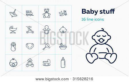 Baby Stuff Icons. Set Of Line Icons. Care, Newborn, Infant. Childhood Concept. Vector Illustration C