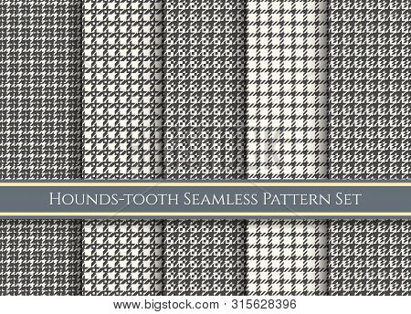Houndstooth Patterns. Dog Tooth Fabrics Swatches, Tartan Check Fabric Pattern Set, Vector Plaid Or T