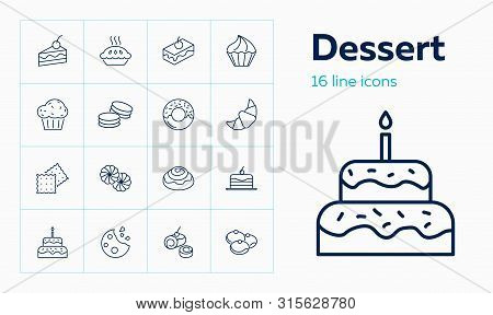 Dessert Line Icon. Set Of Line Icons On White Background. Cake Piece, Chocolate Bun, Cookie. Bakery