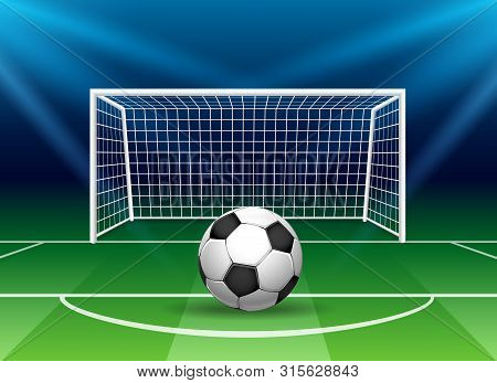 Football Goal With Soccer Ball. Stadium Goal Post Penalty Kick, Vector Soccer Gate On Football Field