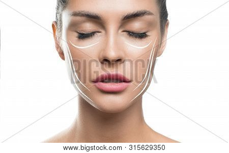 Face Lift Treatment Anti Aging Skincare Woman Concept. Woman Face With Lifting Lines On White Backgr