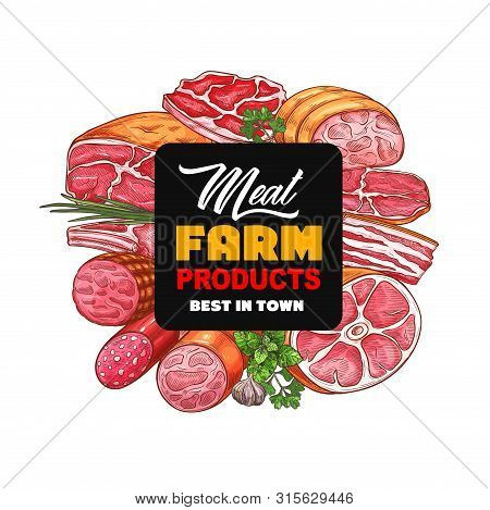 Meat Farm Food Products Vector Icon Of Pork Sausages, Beef Steaks And Ham, Salami, Bacon Strips And