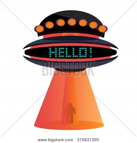 Retro Vintage Flying Saucer Ufo With Words Hello Kidnapping Man. Space Ship With Gradient. Modern Fl