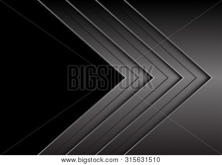 Abstract Dark Grey Metallic Arrow Direction Overlap With Black Blank Space Design Modern Futuristic