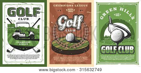 Golf Sport Course With Vector Balls, Clubs And Tee, Green Grass Field, Cart And Hole Retro Design. S