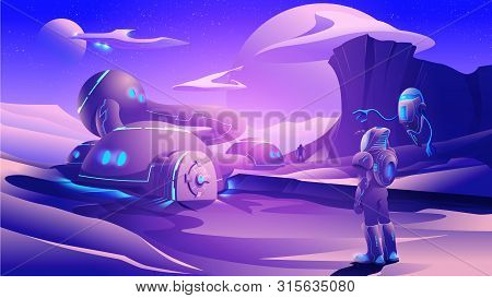 An Illustration Of Sci-fi Scene, Astronaut Fleet Are Exploring On A Far-away Planet In The Universe.