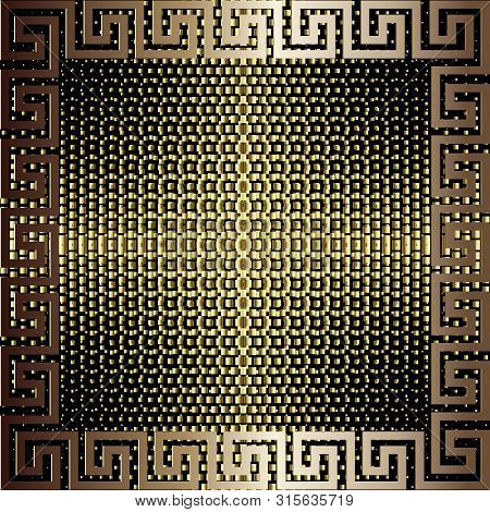 Textured gold 3d greek vector seamless patterm. Greed ornamental golden background. Square greek key meanders frame. Halftone repeat checks backdrop. Luxury dotted ornament. Geometric ornate design. poster