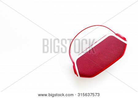 Portable Wireless Speakers For Music Listening On White Background Top View Mockup