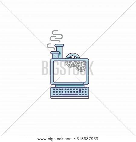 Icon Of A Fantastic Computer In The Style Of Steampunk. Steam Computer With Gears And Chimney