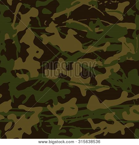Abstract Grunge Camouflage, Seamless  Texture, Military Camouflage Pattern, Army Or Hunting Green Ca