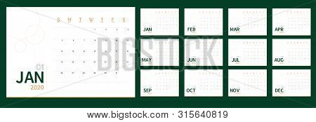Vector 2020 New Year Calendar Planner Template In Minimal Table Simple Style Green And Gold Color, E