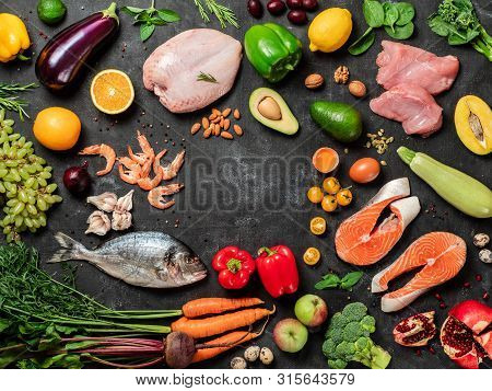 Paleo Diet Concept With Copy Space In Center. Raw Ingredients For Paleo Diet - Fish, Seafood, Poultr