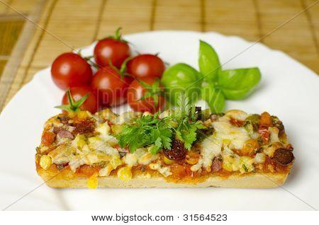 Baguette Pizza Close-up