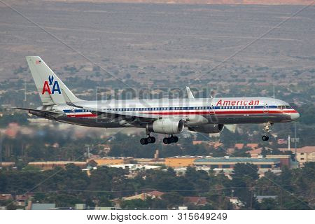 Las Vegas, Nevada, Usa - May 5, 2013: American Airlines Boeing 757 Commercial Airliner Aircraft On A